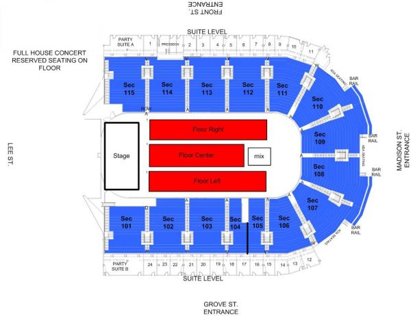 Grossinger Motors Arena Seating Charts - Us cellular center seat map