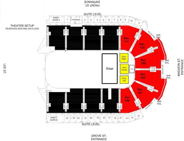Grossinger Motors Arena Seating Charts - Us cellular suite map
